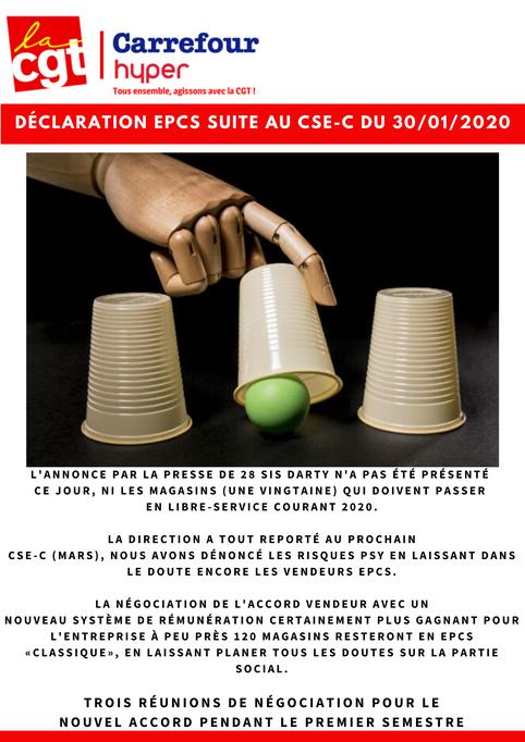 DÉCLARATION EPCS SUITE AU CSE-C DU 30 janvier 2020