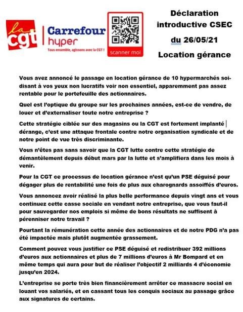 Déclaration introductive CSEC du 26/05/21Location gérance