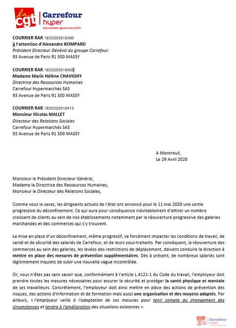 Courrier a l attention de Monsieur BOMPARD PDG CARREFOUR LE 29 AVRIL 2020 du syndicat Cgt carrefour