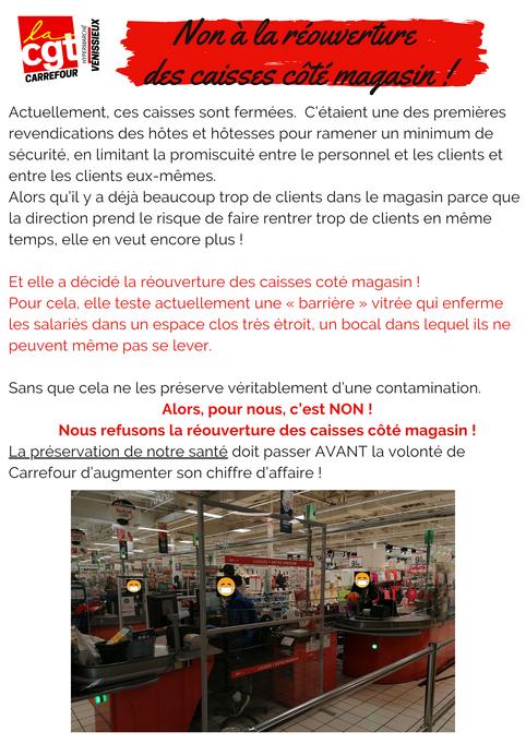 Non à la réouverture des caisses côté magasin à carrefour Vénissieux