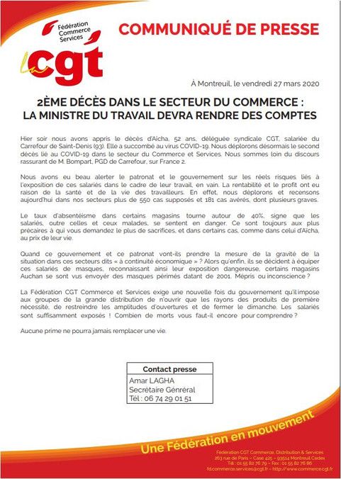 2ème décès dans le secteur du Commerce : la Ministre du Travail devra rendre des comptes !