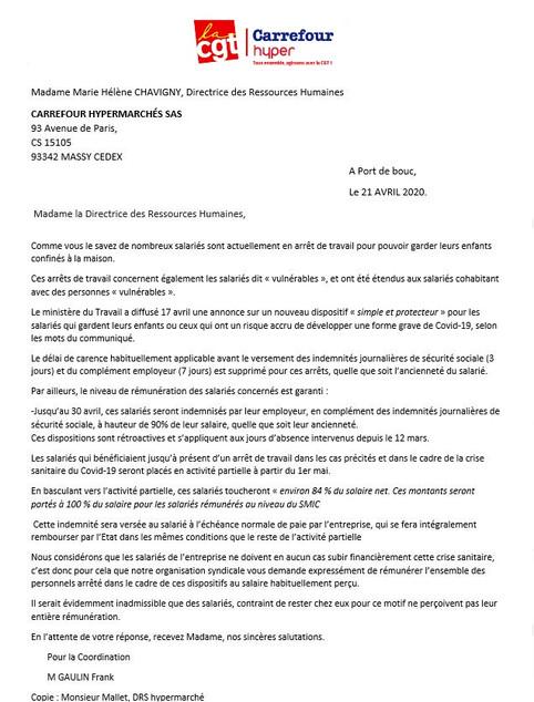 Courrier de la CGT carrefour hypermarché à l'attention de Mme Marie Hélène CHAVIGNY, DRH carrefo