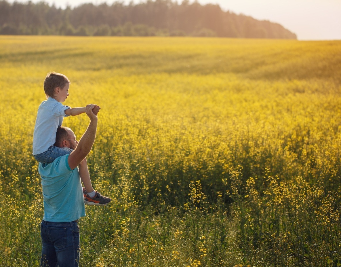 Father holding his son on the shouldders and standing on nature summer background.jpg Rear view_edit