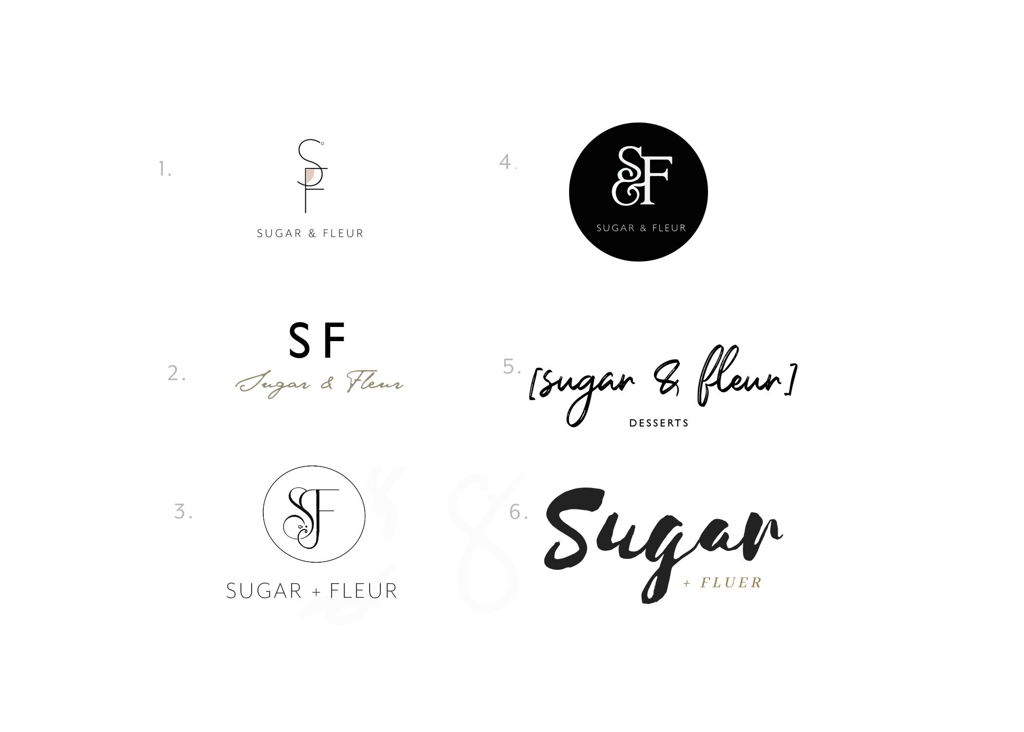 Round 1 logos Sugar and Fleur