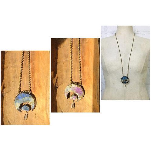 Georgene Novak Reversible Ceramic Crescent Moon Necklace