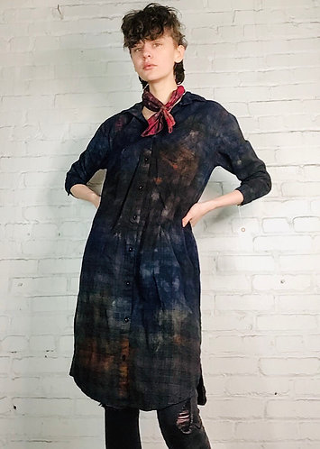 Cotton Plaid Flannel Dress 3/4 Sleeve Small
