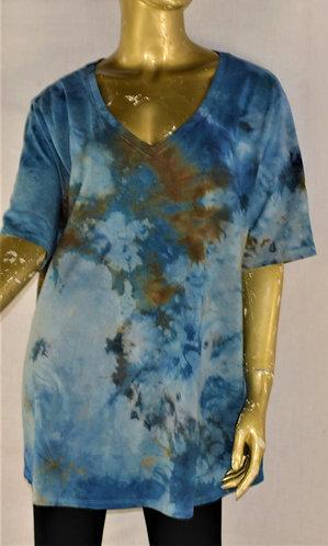 Cotton Blend V-Neck T-Shirt- Size X-Large