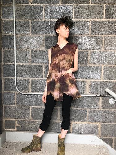 Small/Medium(fits 4-6) Lightweight Cotton Tunic V-neck w/ Two Pockets
