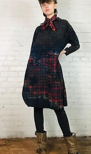 Cotton Plaid Flannel Dress 3/4 Sleeve Large