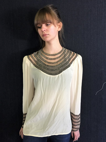 Vintage Silk Beaded Blouse