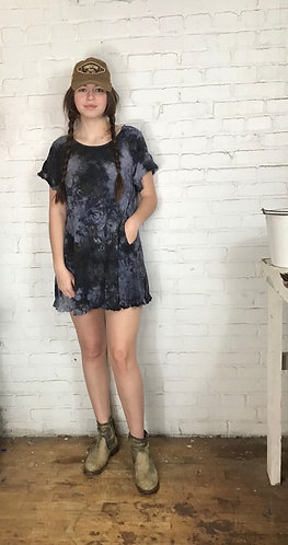 Medium Linen Ruffle Dress Free Shipping (Fits 6-8)