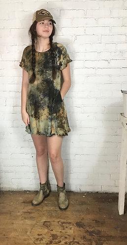 Small Linen Ruffle Dress fits 2-4 Free Shipping