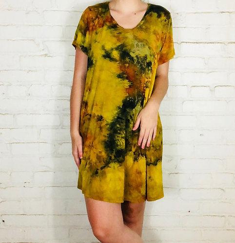 Plus 2X  Short Sleeve V-Neck Dress