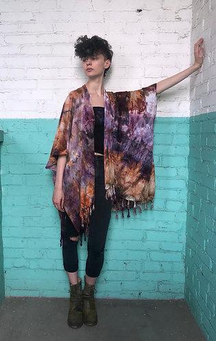 One Size (0-1X) Lightweight woven Tassel Kimono