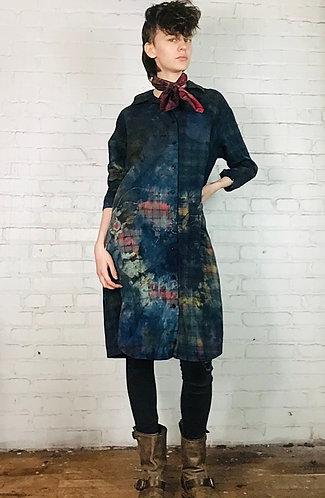 Cotton Plaid Flannel Dress 3/4 Sleeve Medium