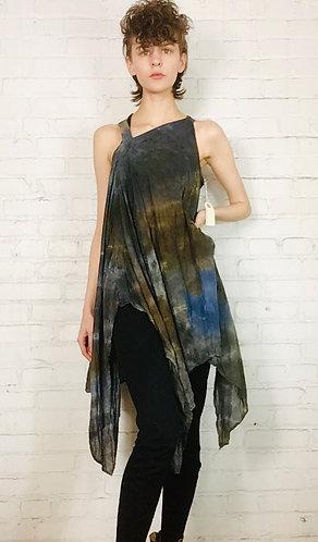 XSmall -Small Cotton Asymmetrical  Dress Fits 0-2 Handkerchief Hem