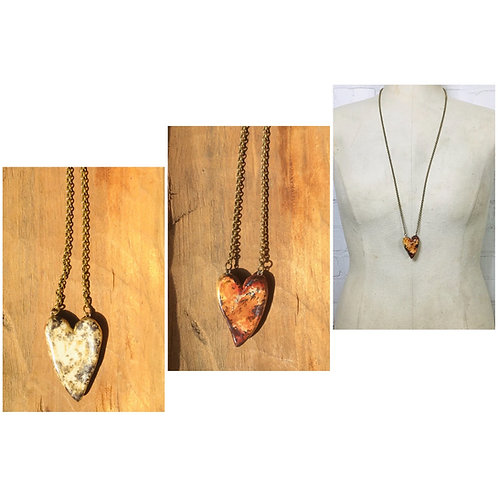 Georgene Novak Reversible Ceramic Heart Necklace
