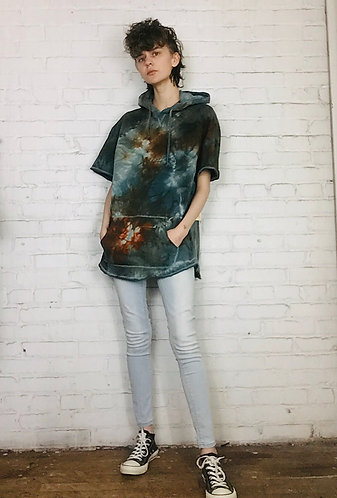Medium Baggy Lightweight Short Sleeve Hoodie Sweatshirt