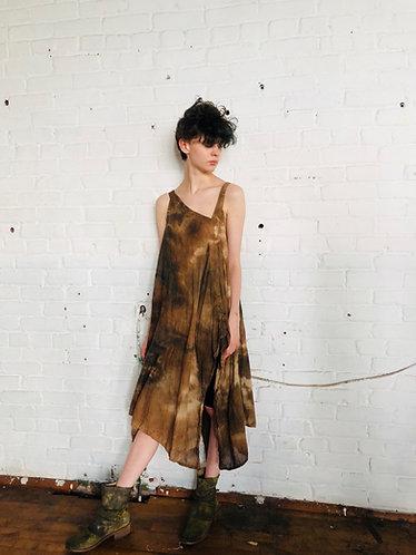 Medium-Small Asymmetrical  Cotton Dress Fits 4-8 Handkerchief  Hem