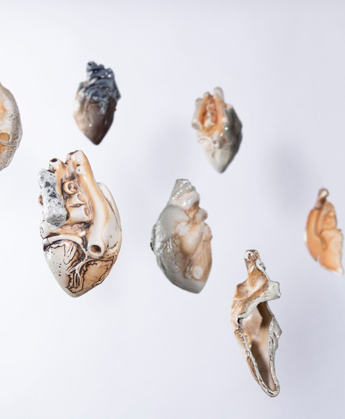 """Detail of Atria installation, porcelain, 6"""" x 4"""" x 4"""", installation dimensions variable, 2019-20"""