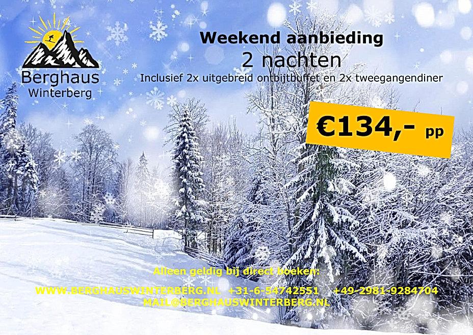 Weekend hoogseizoen Actie Aanbieding Weekend weg Winter Skiën Arrangement