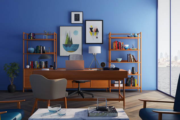 Use COLOR and a GROUPING of ART to give old furnishings a new look.