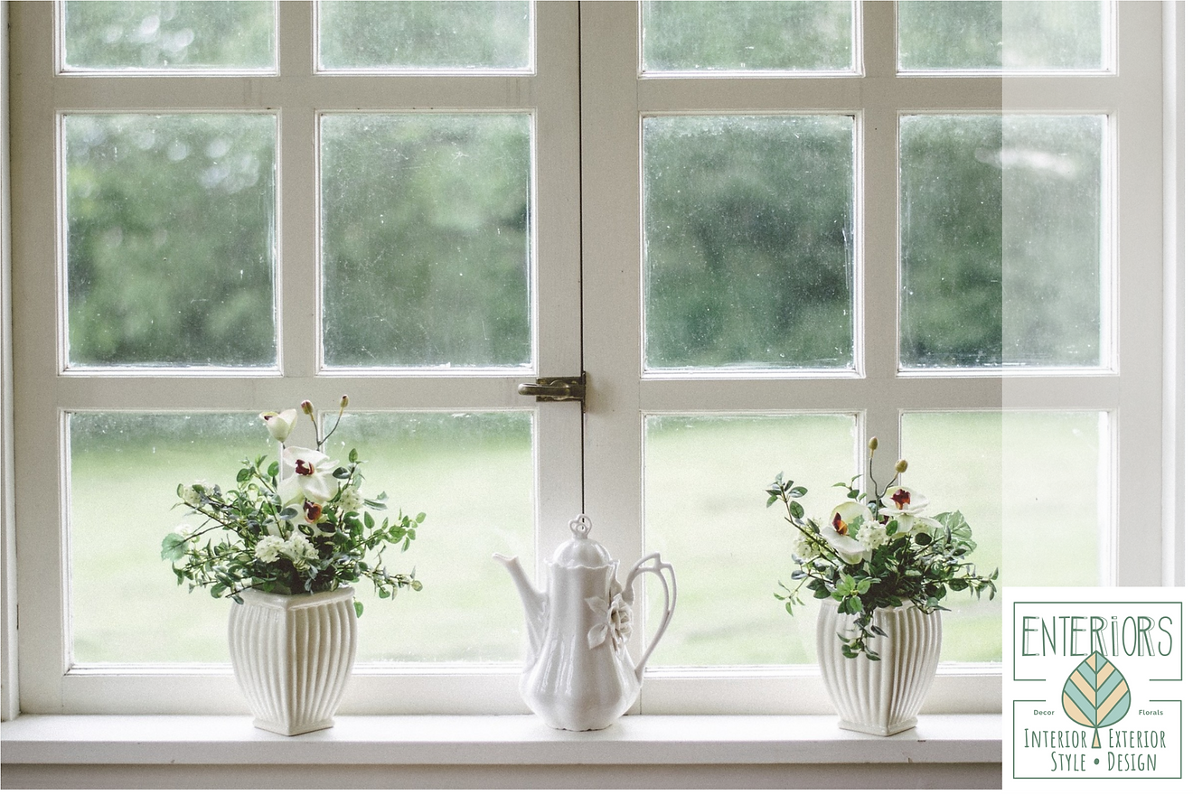 Herbs or fresh cuts from the garden are perfect for a window sill.