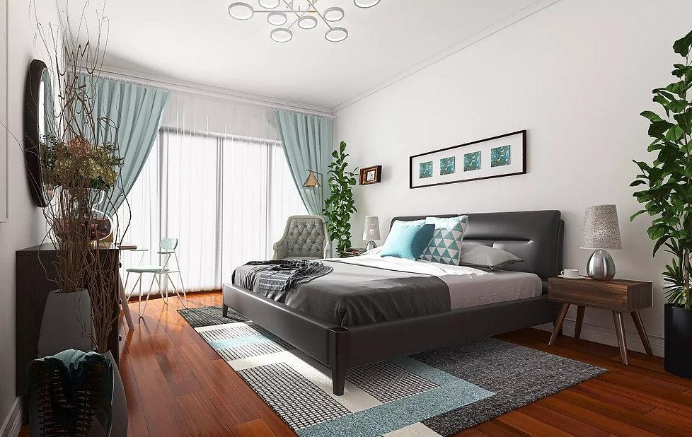 3D Room Render Creme De Menthe Bedroom