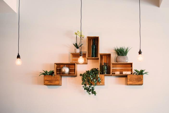 Adorable mini plants adorn these box shelves.