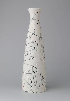 Fluted cylinder vase. Indigo scribble