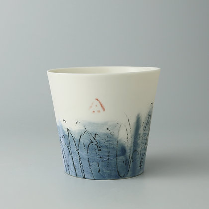 Small cup. Blue monoprint
