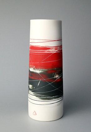 Cylinder vase. Red & black