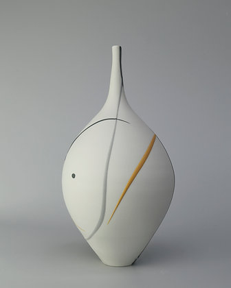Teardrop vase. Grey & yellow splash
