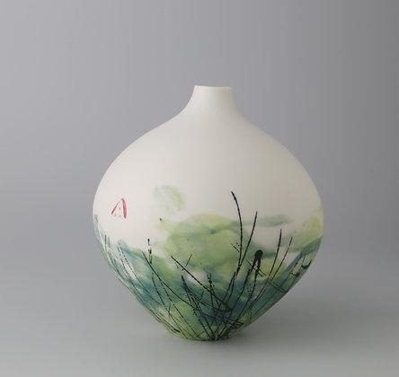 Larger fat bud vase. Lime monoprint