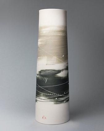 Tall cylinder vase. Olive & black
