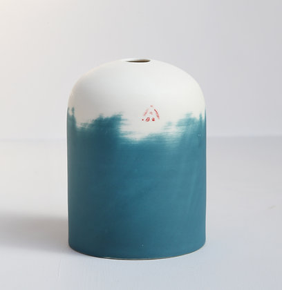 Small domed vase. Teal