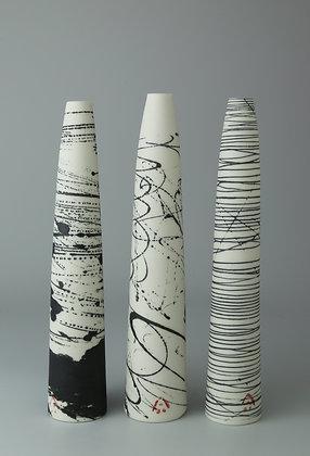 Set of three tapered stem vases. Birch, scribble & black lines