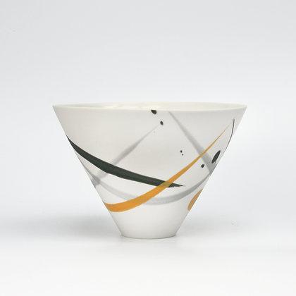 V bowl. Grey & yellow splash