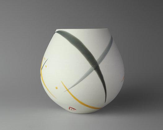Small rounded pot. Yellow & grey splash