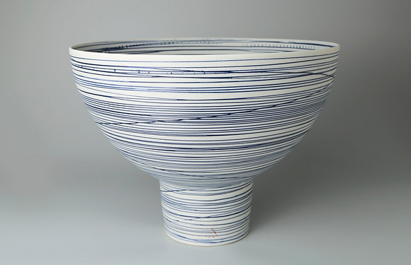 Pedestal bowl.  Blue lines