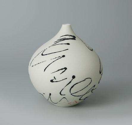 Fat teardrop bud vase. Black scribble