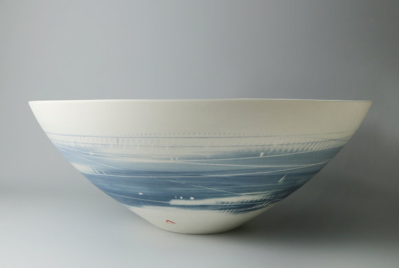 Large, rounded bowl. Two blues