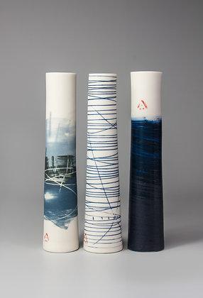 Set of three stem vases. Blue scene, blue line & indigo