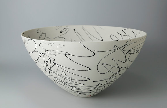 Rounded bowl.  Black scribble