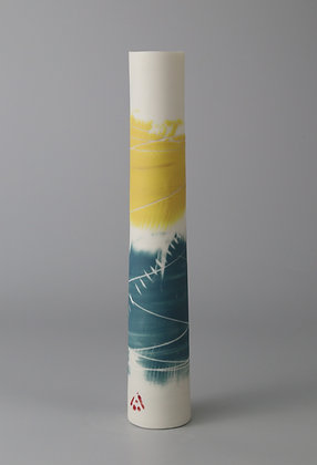 Stem vase. Teal and yellow
