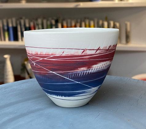 Small cup/bowl. Burgundy & dark blue