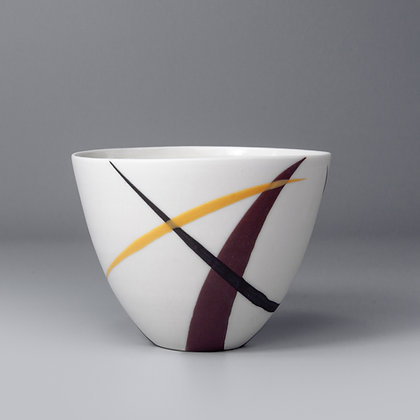 Small cup/bowl. burgundy & yellow splash