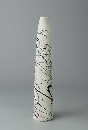 Stem vase tapered. Black scribble.