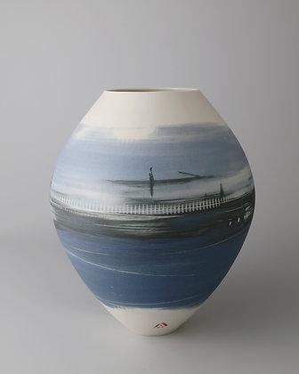 Oval vase. Blue landscape