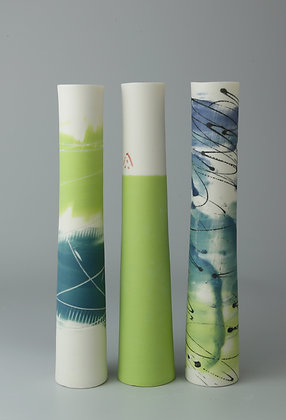 Set of three stem vases. Teal and lime 2